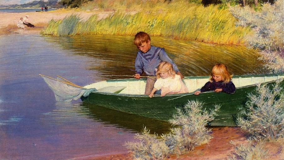 картины художников женщина и рыбалка